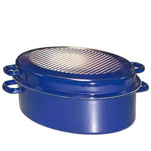 Riess, 0160-012, Gänsebräter oval mit Deckel, CLASSIC - SPEZIALARTIKEL, Durchmesser (lange Seite) 38 cm, Höhe 17,5 cm, Inhalt 6,50 Liter, Emaille, außen blau, innen schwarz