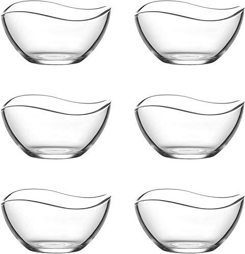 Lav 6 Tlg. 310 ml Schüssel Glasschüssel Servierschalen Set Dessertschalen Glas Salatschüssel Glas Schälchen Set Bowl Schale Schale Deko Schale
