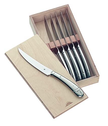 WMF Steakmesser Set 6-teilig, Cromargan Edelstahl poliert, Wellenschliff, spülmaschinengeeignet, Steakbesteck in Holzbox