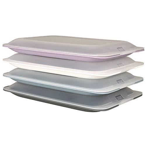 meberg 4er Set hochwertige Aufschnitt-Boxen Wurstbox Wurstdose platzsparend stapelbare Stapelboxen Pastell Vorratsdosen integrierte Servierplatte Frischhaltedose (4er Set)
