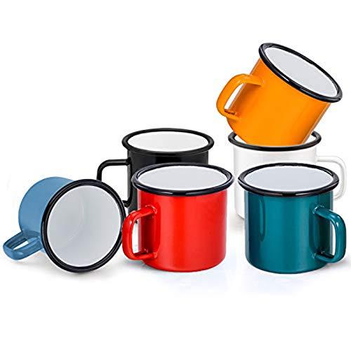 Emaille Tasse 6er-Set, HaWare Schwarz/Weiß/Blau/Rot/Grün/Gelb Kaffee- /Tee- /Trinkbecher, Kaffeetassen Teetassen ideal für Zuhause/Büro/Reisen/Camping, Wiederverwendbar & Tragbar, 350 ml