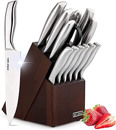 Messerblockset, HOBO Messerblock Profi Messer Set, Edelstahl Küchenmesser Set 14-teilige mit Holzblock Anspitzer Küchenschere, Ergonomischer Griff Messerset Kochmesser Steakmesser Brotmesser
