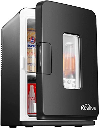 Mini Kühlschrank 15 Liter Tragbare Kühlschränke mit Kühl- und Heizfunktion, 220 V AC/ 12 V DC für Auto und Haushalt, Thermoelektrischer Mini-Kühlschränke für Hautpflege und Kosmetik (ECO-Modus)