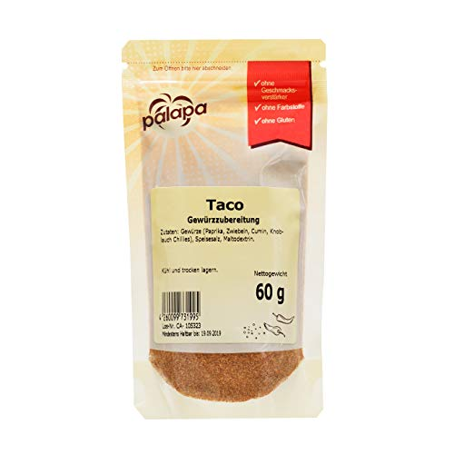 Palapa Taco Gewürzmischung Zip   60g   Mexikanische Küche   pikant, würzig & anregend   Kombination aus Chili und andern Gewürzen   mexikanische Züge und eine milde Schärfe   Hervorragender Geschmack