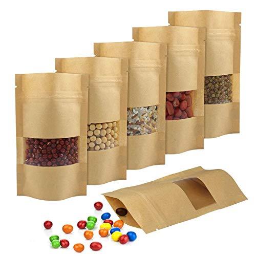 Kraftpapiertüten 150Pcs Papierbeutel Braun Wiederverwendbar Kleine Papiertütchen Mit Sichtfenster für Nüsse, Kaffeebohnen, Teeblätter, Gewürze(9cm*14cm)