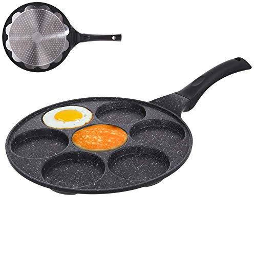 ORION Augenpfanne Spiegelei-Pfanne für 7 Eier Crepepfanne für Gas Induktion Antihaftbeschichtete Ø 27 cm GRANDE
