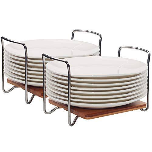 E-ROOM TREND Tellerhalter Dish Organizer Verstellbare Größe 2er Pack, Bambus-Geschirraufbewahrungsregal mit leicht zu tragenden SS304 Griffen für Küchenschublade, Schränke, Schrank, Ecke(M) (A042)