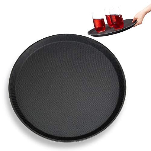 Relaxdays Gastro Tablett, rutschfeste Oberfläche, hoher Rand, Kellnertablett für Café, Bar, Restaurant, Ø 35 cm, schwarz