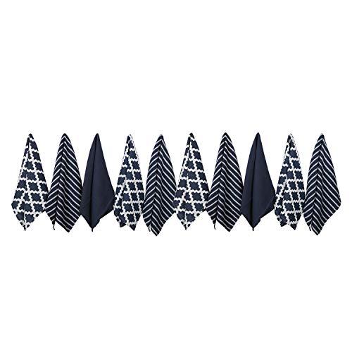 Penguin Home 10er Set Geschirrtücher - 100% Baumwolle, Stilvolles Design mit Mehreren Mustern - Maschinenwaschbar - Marine, 65 x 45 cm