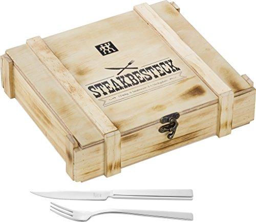 Zwilling 07150-359-0 Steak Besteckset in rustikaler Holzbox, Edelstahl, 12-teilig