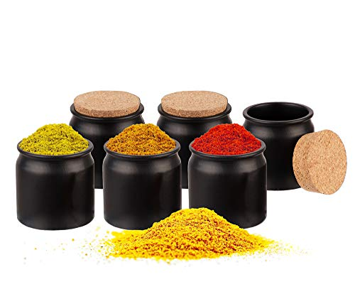 BigDean 6er Set Gewürzdosen mit Korken-Deckel 150 ml rund - Gewürzgläser aus Keramik - Vorratsdosen ideal als Aufbewahrung für Gewürze, Kräuter & Tee - Made in Germany
