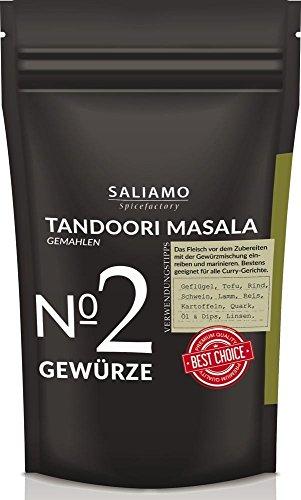 250g Tandoori Masala Gewürzmischung, gemahlen, Indisches Gewürz intensiv-würzig, geeignet für Geflügel, Reis, Hackfleisch, Grillgewürz, zum marinieren und einlegen von Fisch Fleisch Gemüse | Saliamo