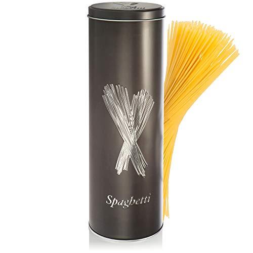 com-four® Vorratsdose Spaghetti mit Deckel - Aufbewahrungsbehälter für Nudeln und Pasta - Dekorative Frischhaltedose für die Küche (Spaghetti - anthrazit)