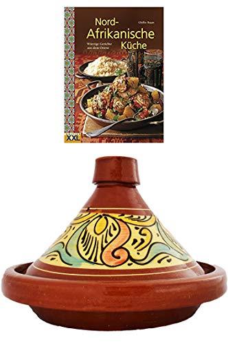 Marokkanische Tajine Topf zum Kochen + Kochbuch   Schmortopf glasiert Chaouen Ø 30cm, für 4-5 Personen   inklusive Rezepte Buch Nord Afrikanische Küche   ORIGINAL Tontopf handgetöpfert aus Marokko