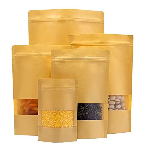 ZAMISS 50 Stück Kraftpapier Tüten mit klarem Fenster,Reißverschluss und Einkerbung,Papiertüte versiegeln,Aufbewahrungsbeutel für Lebensmittel,für Nüsse, Samen, Bohnen, Kaffee, Süßigkeiten, Snacks