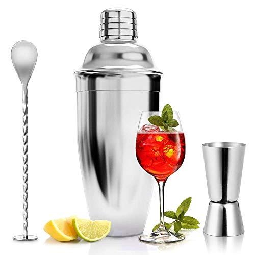 ASANMU Cocktailshaker Set, 750ML Cocktail Shaker Edelstahl Professioneller Cocktailmixer Bar Cocktailset Kit mit Messbecher und Barlöffel, Premium Bar Shaker Set Bar Zubehör Geschenk für Männer Frauen