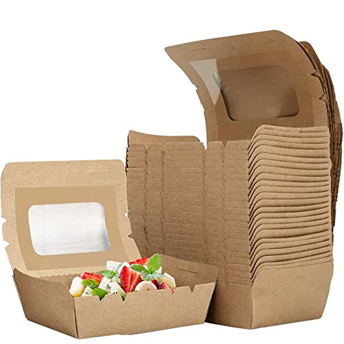 afdg Lebensmittelverpackung Karton, 25 Stücke Kraftpapierbox für Lebensmittel, Kraftpapier Lunchbox, Keksdose aus Kraftpapier für Gekochtes Essen, Salat, Lebensmittelverpackung (700 ml)