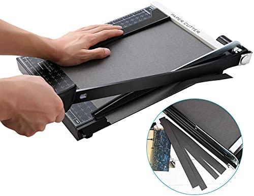 A4 Papierschneider Papierschneidemaschine mit Metallbasis, Fotoschneider Hebelschneider Schneidegerät 340mm Schnittlänge 12 Blatt Papier für zu Hause oder im Büro