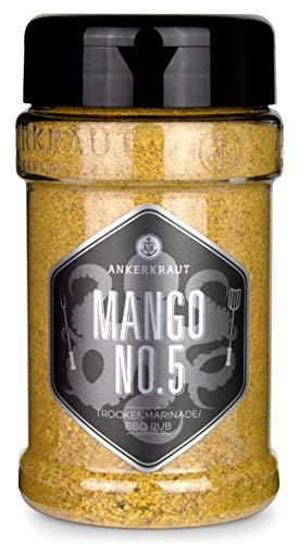 Ankerkraut Mango No.5, süß-fruchtiger BBQ-Rub und Grillgewürz zum Marinieren von Fleisch und Geflügel, 240g im Streuer