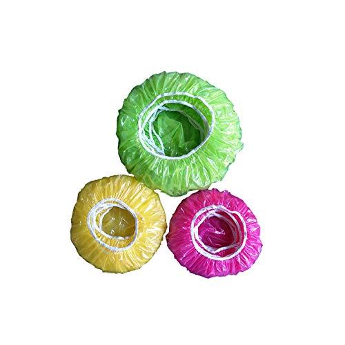 Guanici Schüsseln Tassen Abdeckhauben Lebensmittel Abdeckung Staubschutzhülle aus Kunststoff Topfhauben wasserdichte Duschhaube für Gemüse Frischeschutz oder für Zuhause, Hotel Duschkappe 60 Stück