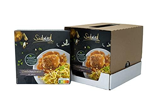 Saftiger Zwiebelhackbraten in würziger Sauce mit Spätzle – 6er Pack (6 x 375g) - Fertiggerichte für die Mikrowelle / Wasserbad - Südwind Lebensmittel
