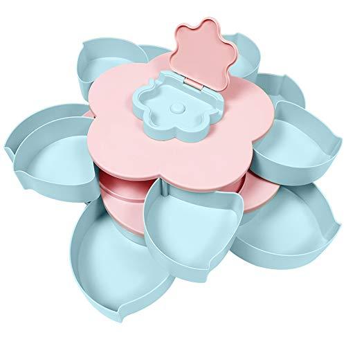 St.Oswalds Kreative Blütenblatt Rotierende Süßigkeiten Box Bloom Snackbox Nüsse Getrockneten Obstteller Snack-Aufbewahrungstablett mit Telefonhalter Tablett für zu Hause Hochzeit Weihnachtsfeier
