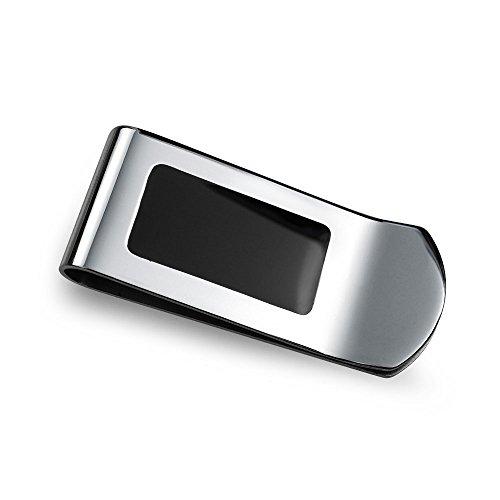 Bling Jewelry Zwei Ton Schwarz Emaille Inlay Gravierbare Geld Clip Für Männer Kreditkarteninhaber Geschenk Für Vater Silber Ton Edelstahl