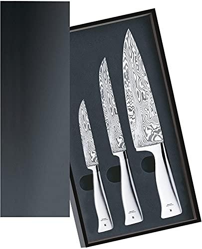 WMF Grand Gourmet Messerset 3teilig, Made in Germany, 3 Damastmesser geschmiedet, Damaststahl 120-lagig, Performance Cut, Holzkassette