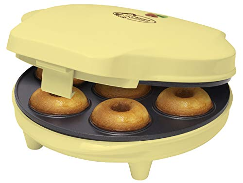 Bestron Donut Maker im Retro Design, Sweet Dreams, Antihaftbeschichtung, 700 Watt, Farbe: Gelb