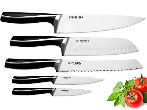 SVENSBJERG Messer-Set, 5-tlg, Küchenmesser-Set, Kochmesser-Set, Chef-Messer, Scharfe Edelstahl-Messer | Küche, Obst, Gemüse, Fleisch, hochwertiges Profi Set | SB-KS301