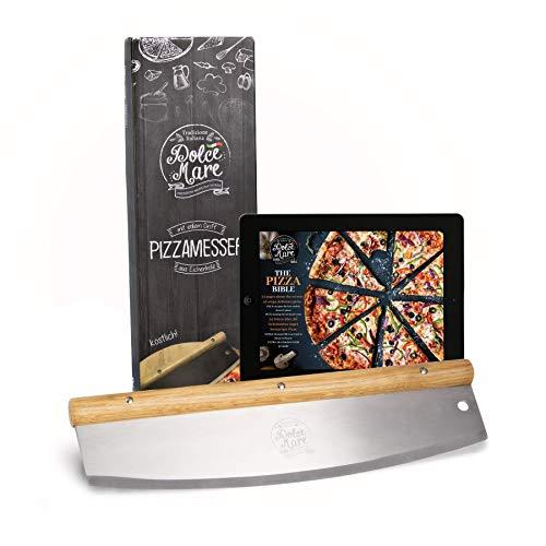 DOLCE MARE® Pizzaschneider - Vielseitig einsetzbares Wiegemesser mit edlem Griff aus Eichenholz - Pizzamesser mit extra scharfer Edelstahlklinge - Inklusive Klingenschutz & Anleitung