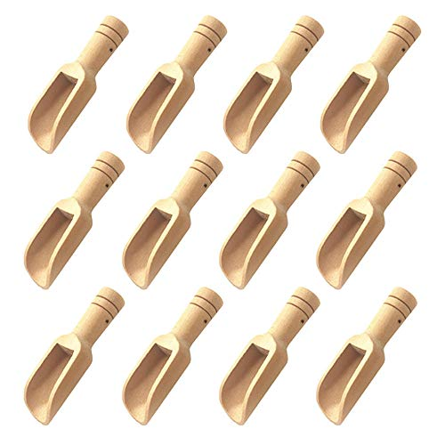Gativs 12 Stücke Gewürzlöffel Massivholz Löffel Küchenutensilien Handgefertigt Holzlöffel Badesalz Löffel Holz-Salzlöffel Holzschaufel