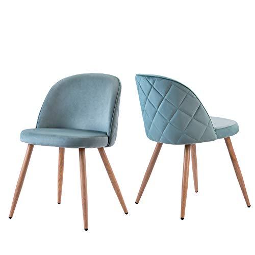 Esszimmerstuhl 2er Set Wohnzimmerstuhl SAMT Stoff/Leinen Polsterstuhl Loungesessel Weicher Sitz und Rücken mit Holzernen Metallbeinen Küchenstühle (Grün)