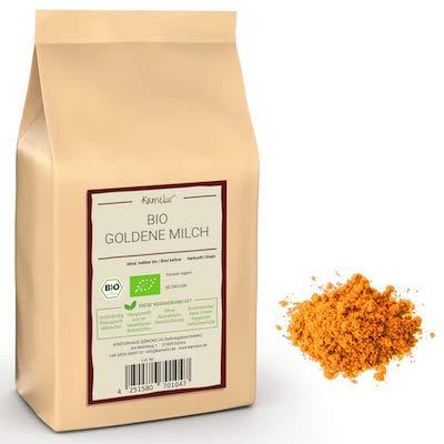 500g BIO Gewürzmischung Goldene Milch Pulver - für Kurkuma Latte mit ausgewogenem Geschmack - Golden Milk in biologisch abbaubarer Verpackung