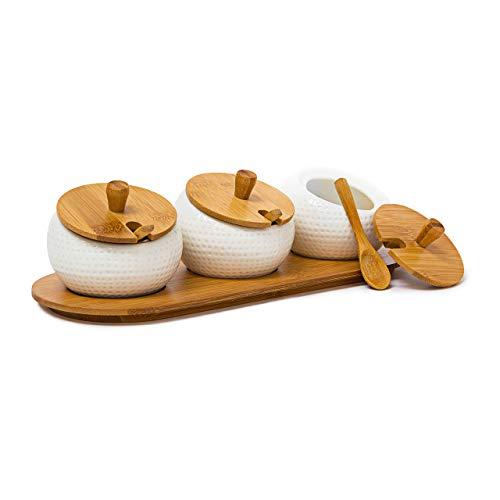 Relaxdays Gewürzhalter JIAO aus Keramik und Bambus H x B x T: ca. 8,5 x 30,5 x 12 cm Gewürzdosen mit Deckel und Halter als Gewürzständer und Dipschalen für den Tisch inklusive passender Löffel, natur