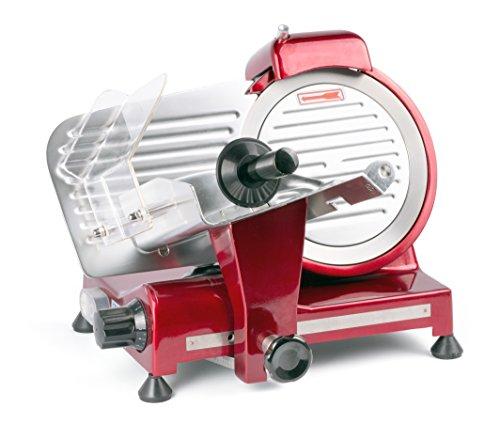HENDI Aufschnittmaschine, Messerdurchmesser: 220mm, rote Sonderedition, Allesschneider, Stufenlos einstellbare Schnittstärke (0-15mm), 230V, 280W, 440x420x(H)350mm, Rot, Aluminium, Edelstahl
