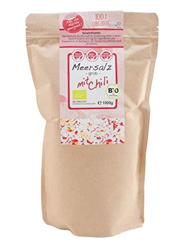 direct&friendly Chili Salz grobes Meersalz mit Bio Chili ideal für die Salzmühle (1 kg)