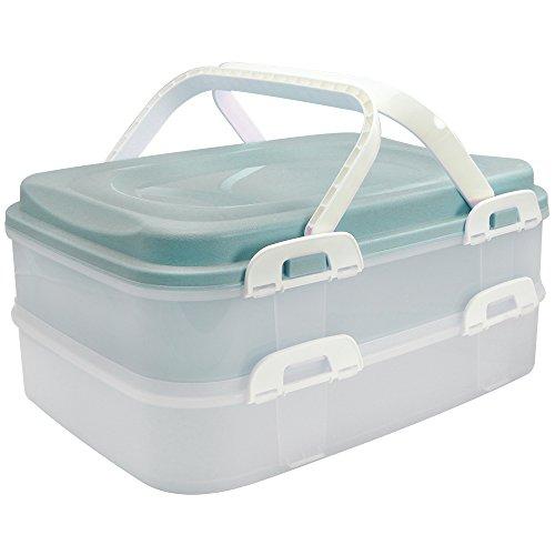 com-four® Partycontainer mit 2 Etagen und Hebeeinsatz - Kuchen Transportbox für Lebensmittel - Kuchencontainer mit Tragegriff - türkis pastell (001 Stück - türkis pastell)