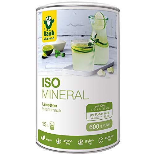 Raab Vitalfood Iso Mineral Limette, isotonisches Getränk, Getränke-Pulver, leicht löslich, isotonisch, vegan, glutenfrei, mit Acerola 1er Pack (600 g Dose)