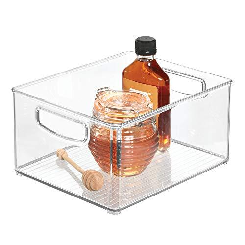 iDesign Aufbewahrungsbox für die Küche, großer & tiefer Küchen Organizer aus Kunststoff, offene Kühlschrankbox mit Griffen, durchsichtig