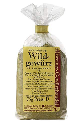 Wild-Gewürz, gemahlen, 75g, Gewürzmischung, 100% Kräuter und Gewürze ohne Salz und Geschmacksverstärker, ideal auch für Gänsebraten und Ente - Bremer Gewürzhandel - Bremer Gewürzhandel