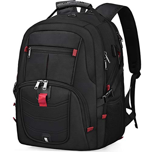 Laptop Notebook Rucksack Herren 17 Zoll Schulrucksack mit USB Ladeanschluss Grosser Wasserdicht Arbeit Rucksack Taschen 17,3 Zoll Business Backpack Daypack für Männer Schüler Jungen Teenager Schwarz