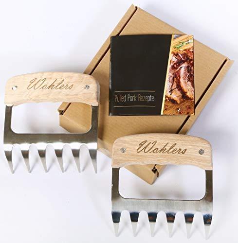 Wohlers Pulled Pork Krallen für saftiges und leckeres Shredder BBQ - Edelstahl Fleisch Bärenkrallen für perfektes Pulled Pork - mit den Fleisch Krallen zur unvergesslichen Garten-Grill Party