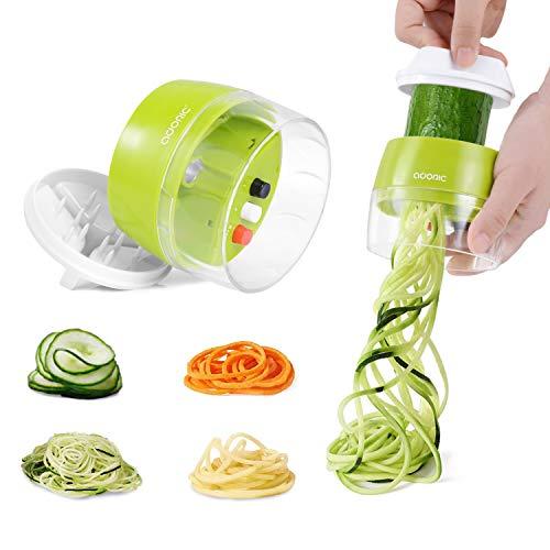 Adoric Spiralschneider Hand Gemüse Spiralschneider, Gemüsehobel Gemüsenudeln Schneider für Karotte, Gurke, Kartoffel,Kürbis, Zucchini, Zwiebel, Gemüsespaghetti Tastenumschalten.