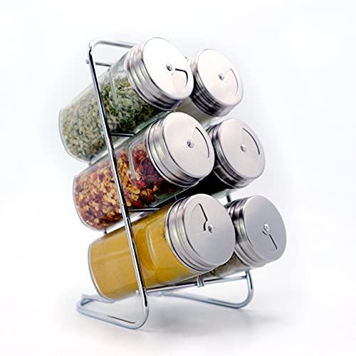 A|M|I|N|A Gewürzregal Marrakesch Edelstahl mit 6 Gewürzgläsern - 6 x 90 ml Gewürzstreuer aus Glas mit Dosierkopf | zur Kräuter- & Gewürze Aufbewahrung | leer