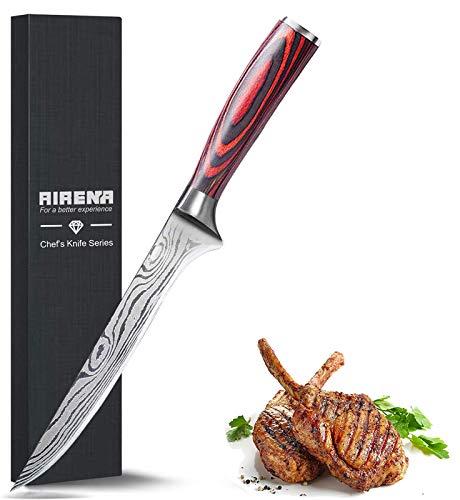 Ausbeinmesser, 6.5'' Küchenmesser, Japanisches Messer im Damaststahl, Fleischmesser - aus rostfreiem Deutscher Edelstahl mit Ergonomische Holzgriff -Scharfe Kochmesser - AIRENA