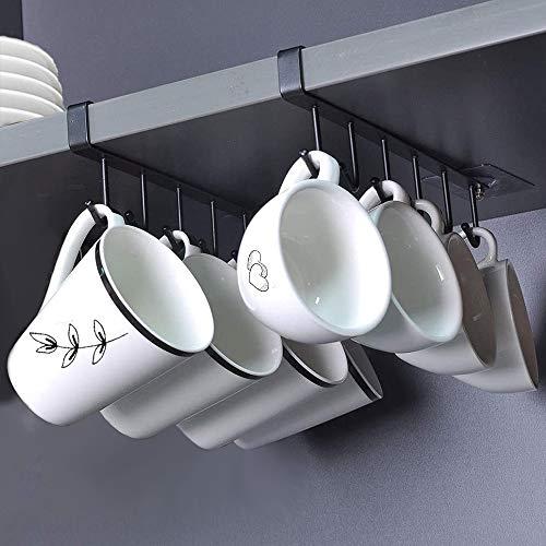 N / A AliCH 2St Becher Tassen Lagerung Haken Unter Regal Tassenhalter Küchenutensilien Krawatten Gürtel und Schal Hängen Rack Halter Unterschrank Schrank ohne Bohren (Schwarz) (S)