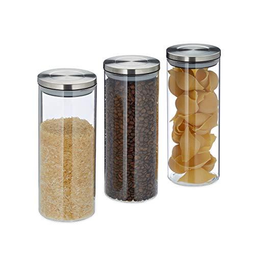 Relaxdays Vorratsglas 3er Set, luftdicht, Edelstahl Deckel, für Pasta, Müsli & Reis, 1,5 l Küchenbehälter, Silbertransparent