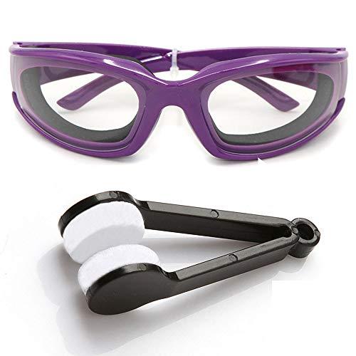 Amaoma Zwiebel Schutzbrille Küche Schutzbrille Zwiebelbrille Winddichte Staubdicht Reizung Tränen Sonnenbrille Brille Augen Protector für Haus und Küche Einsatz Mit Reinigungsbürsten (Lila)