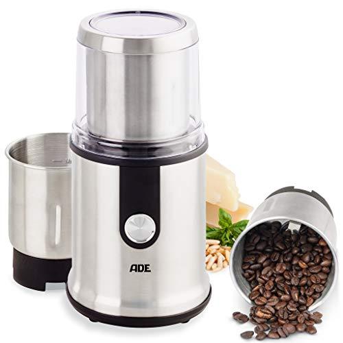 ADE KA1805 Kaffeemühle elektrisch Gewürzmühle Getreidemühle für Kräuter Nüsse Espresso (Mühle mit 2 Mahlbehältern, extrascharfe Klingen, GS-zertifiziert), Edelstahl, 300 Milliliter